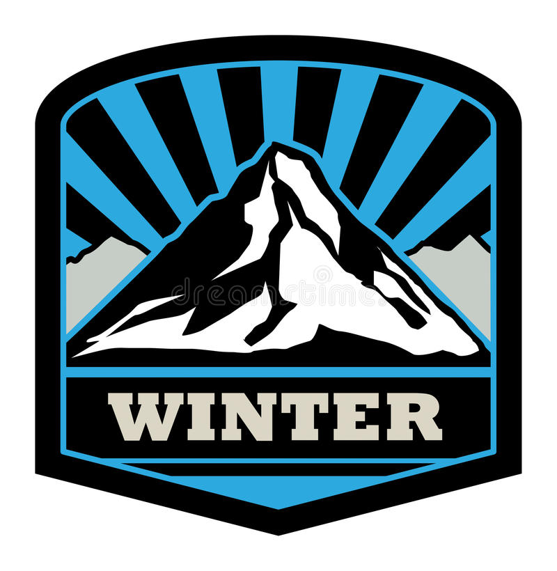 Winter mountain sticker royalty free illustration