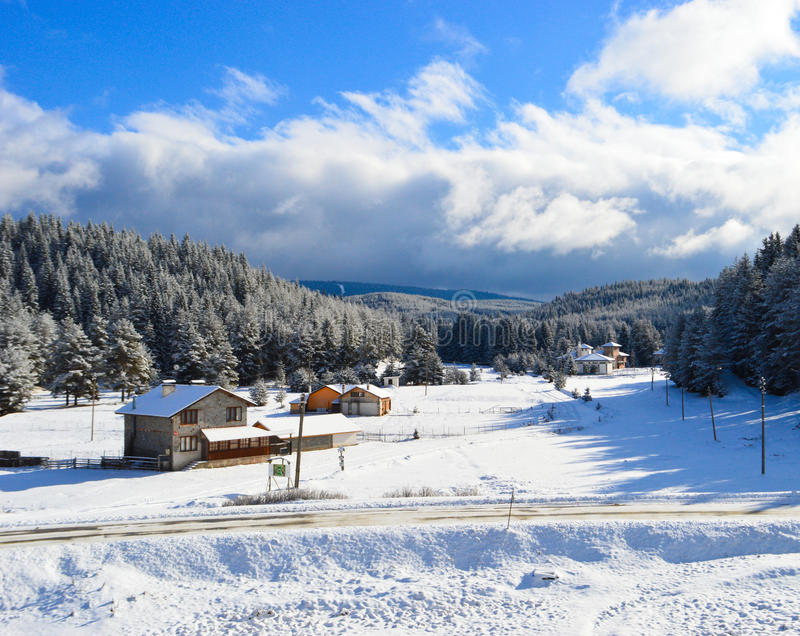 Winter in the mountain stock photography