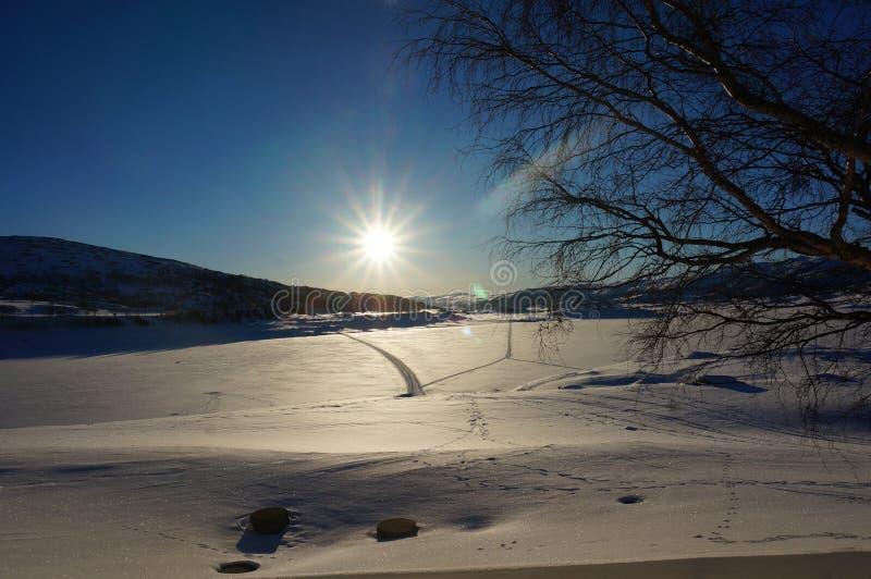 Winter mountain sunrise with skitracks stock photo