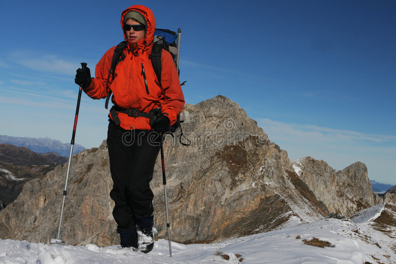 Winter Mountain Trekking Royalty Free Stock Photography