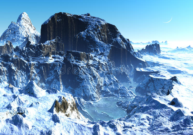 Winter in Mountain Valley. Snow covered mountains with frozen lake and perfect blue sky stock illustration