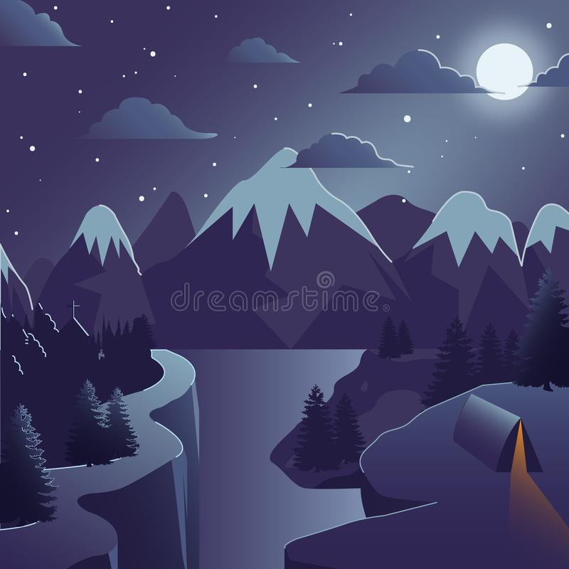 Winter Mountain vector illustration with climbs and river stock illustration