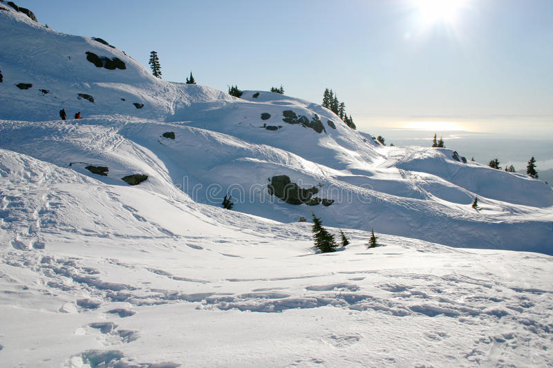 Winter mountain view. On the peak of mountain seymour, vancouver, Canada stock images