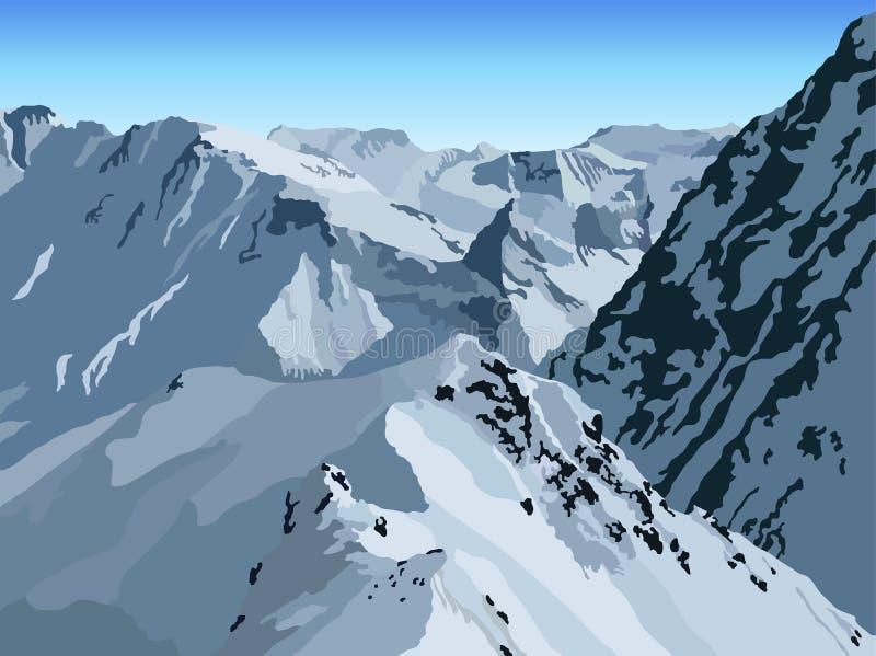 Winter mountain view royalty free illustration