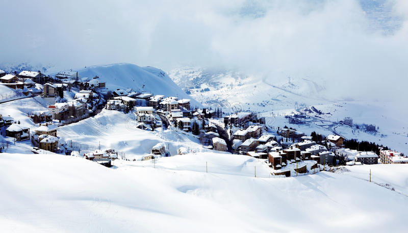 Winter mountain village landscape. With snow and cute little houses, beautiful nature panoramic background stock images
