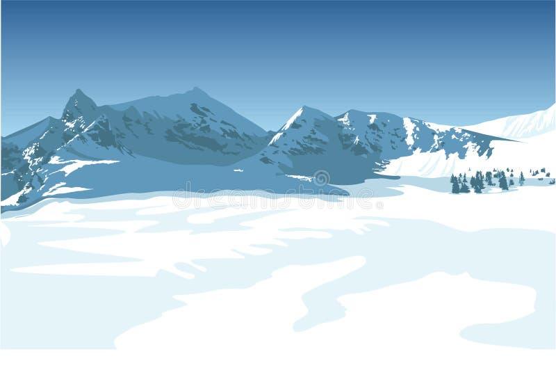 Winter mountains. Vector illustration of winter high mountains. File: AI8 eps, jpg vector illustration