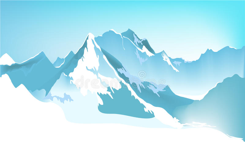 Winter mountains. Vector illustration of winter high mountains. File: AI8 eps, jpg royalty free illustration