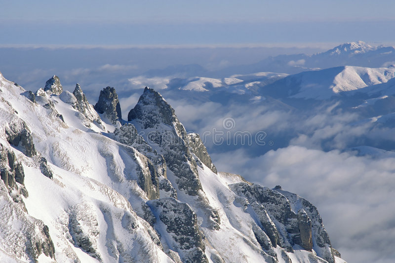 Winter mountains. Bucegi Mountains in winter, Southern Carpathians, Romania royalty free stock image