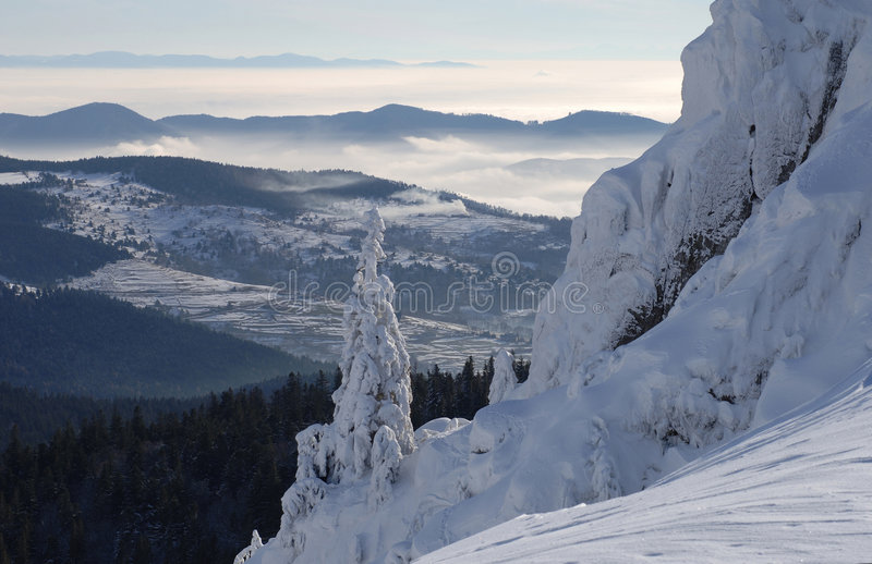 Winter mountains. Vosges Mountains in winter, Alsace, France royalty free stock image