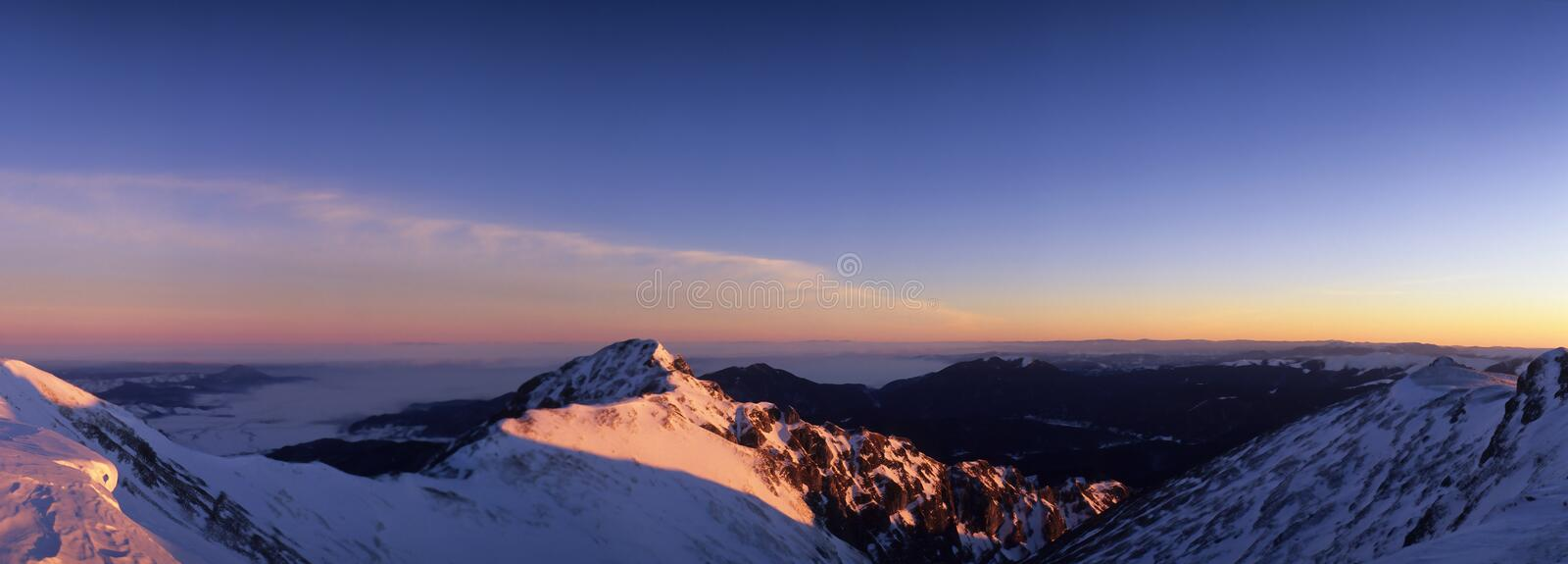 Winter mountains. Bucegi Mountains in winter, Southern Carpathians, Romania stock images