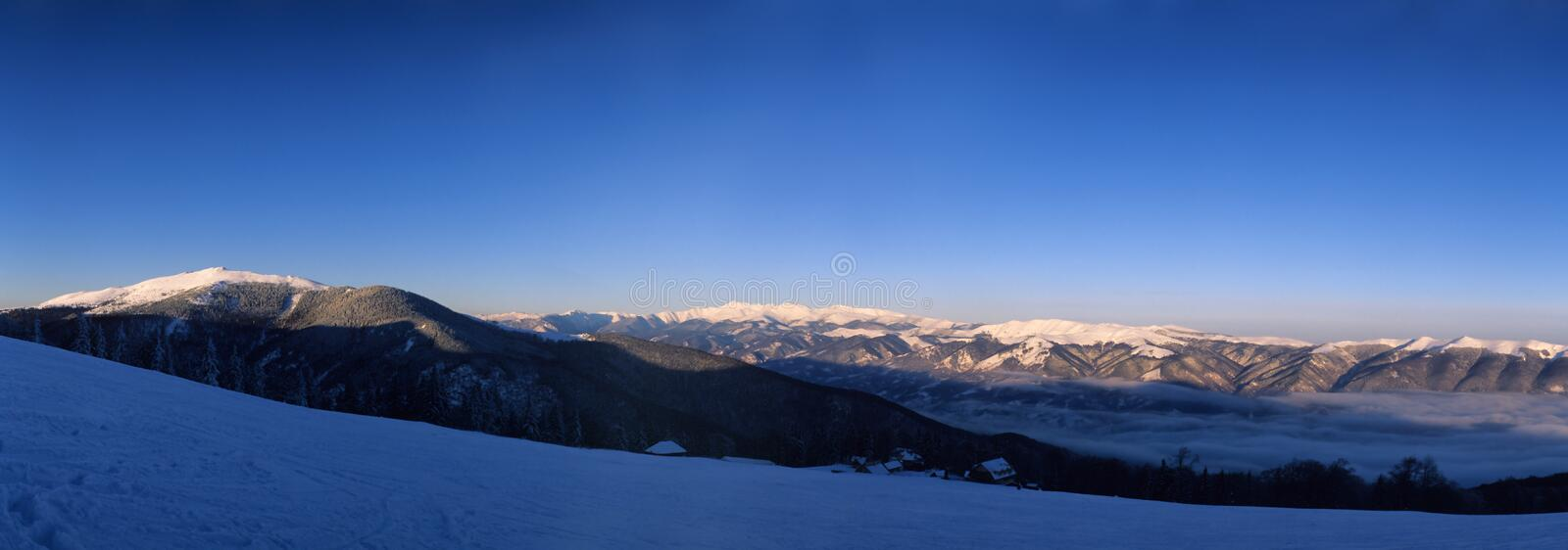 Winter mountains. Valcan Mountains in winter, Southern Carpathians, Romania stock images