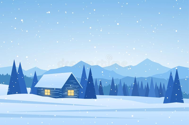 Winter Mountains landscape with house on foreground. Vector illustration: Winter Mountains landscape with house on foreground stock illustration