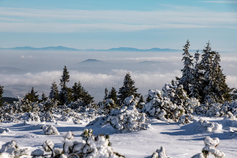 Winter on mountains - low clouds and distant views. Winter on mountains ridge of Jeseniky hills - low clouds and distant views, Czech Republic, Europe royalty free stock image