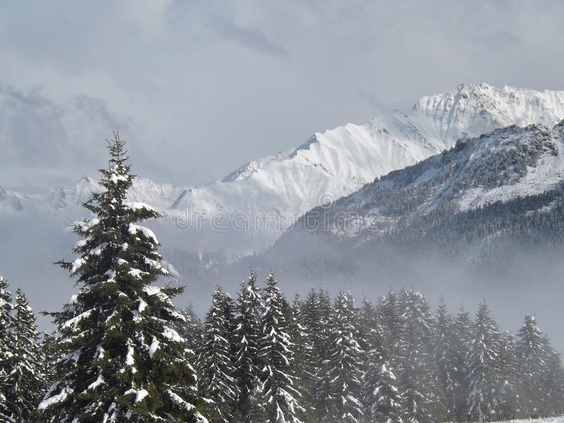 Winter in the mountains. On the plateau of Hochkrimml, Austria, Europe royalty free stock images