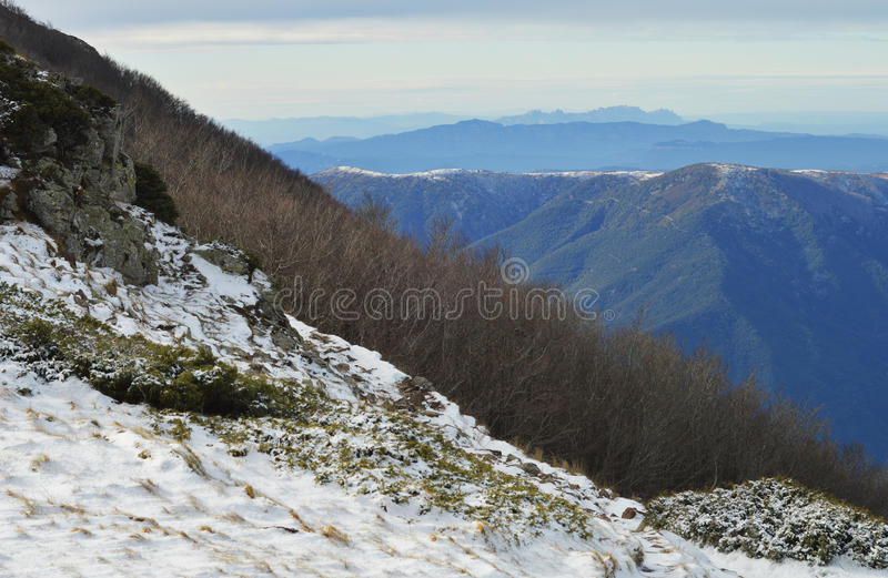 Winter and mountains stock photo