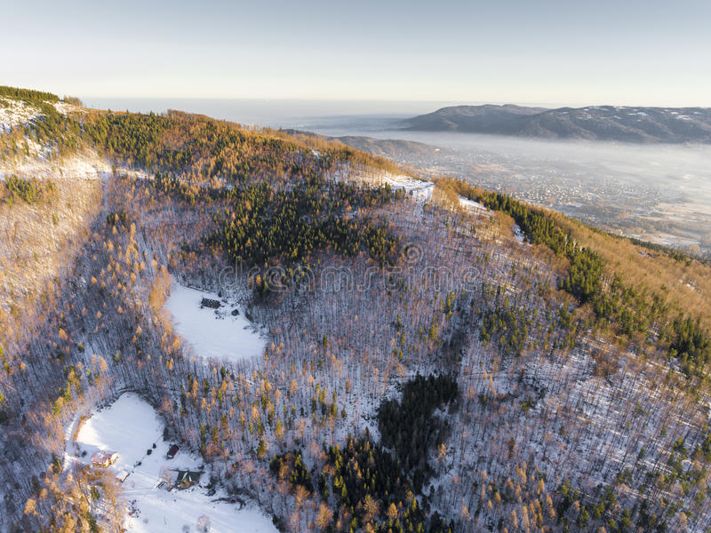 Winter in mountains. View from above. Szczyrk.Poland. Winter in mountains. View from above. Szczyrk.Poland stock images