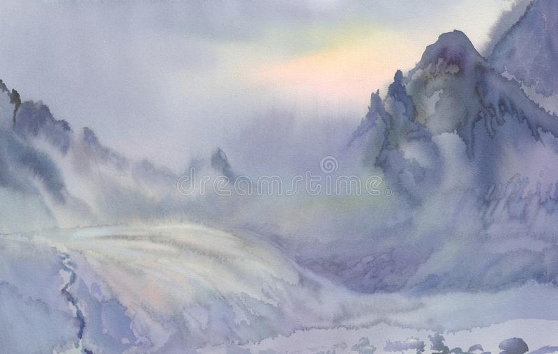 Winter in the mountains watercolor landscape. Misty morning stock illustration