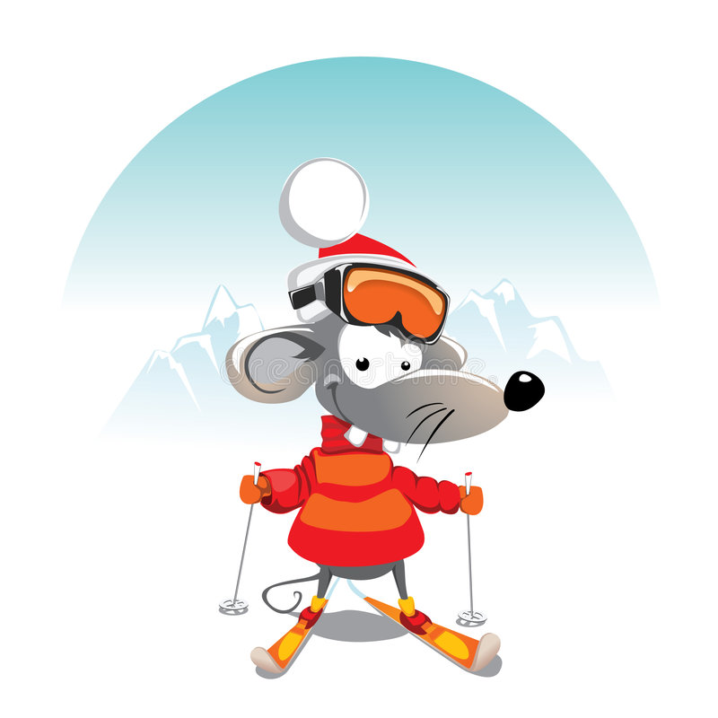 Winter mouse vector illustration