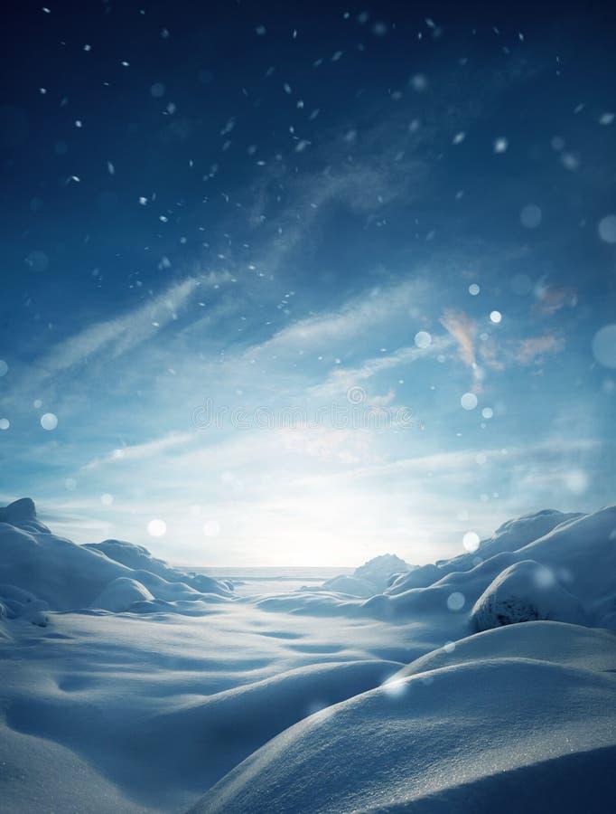 Winter Mystical Snow Scenic Background 免版税库存照片