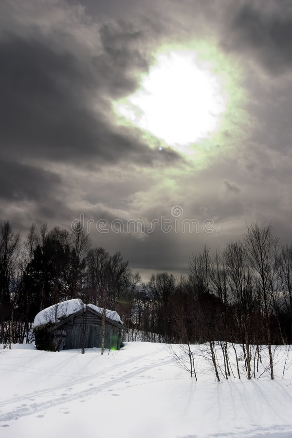 Winter-Nacht lizenzfreie stockfotos