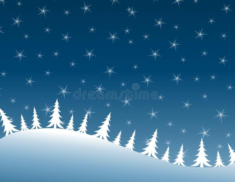 Winter-Nachtreihe der Weihnachtsbäume lizenzfreie abbildung