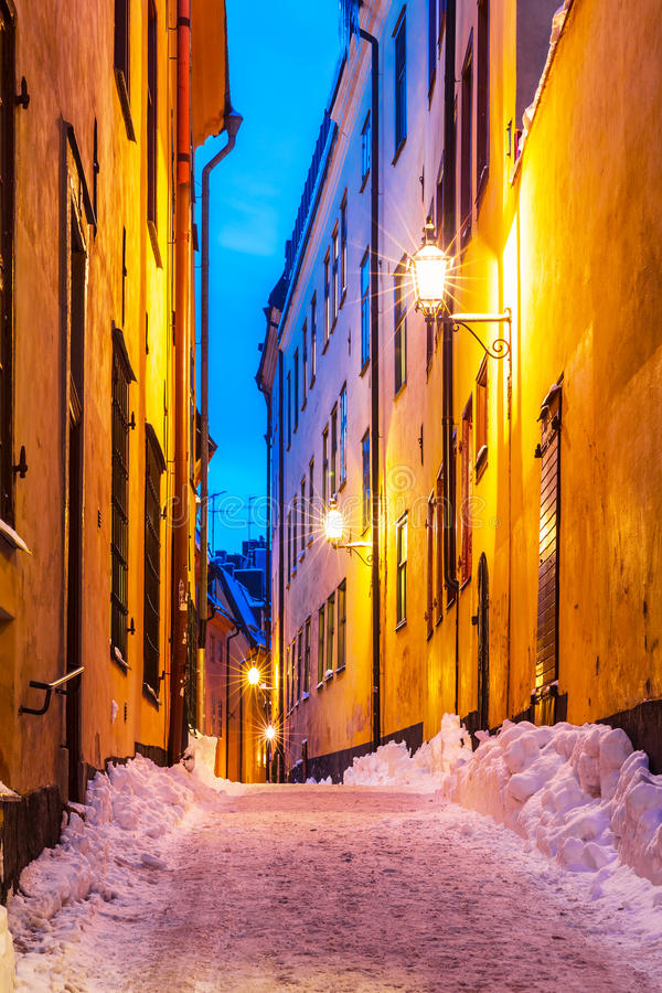 Winter narrow street in the Old Town in Stockholm, Sweden royalty free stock image