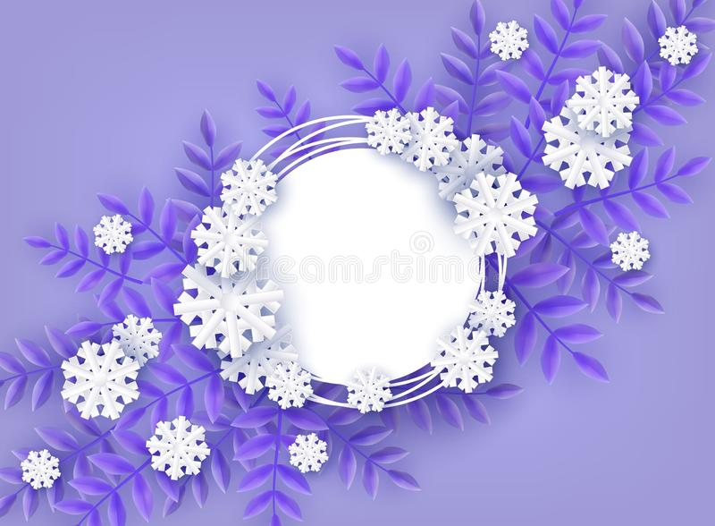 Winter natural banner vector illustration for seasonal design with copy space. Winter natural banner vector illustration for seasonal design with copy space stock illustration