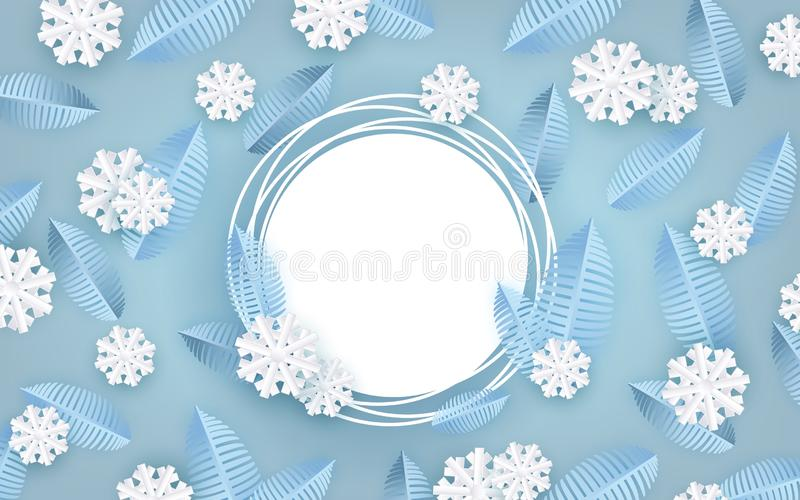 Winter natural banner vector illustration with blue tree leaves and white snowflakes and copy space. Winter natural banner vector illustration for seasonal stock illustration