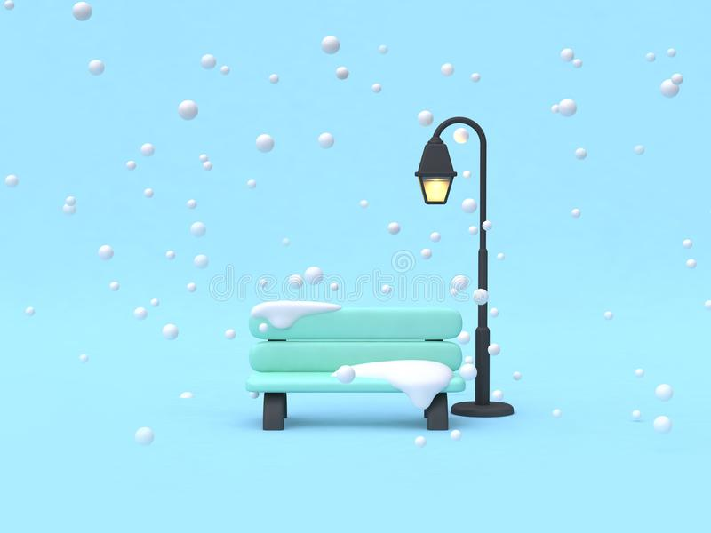 winter nature concept scene cartoon style chair parks with lamp 3d render royalty free illustration
