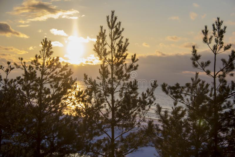Winter sunrise snow baltic beach, latvia, saulkrasti stock photo