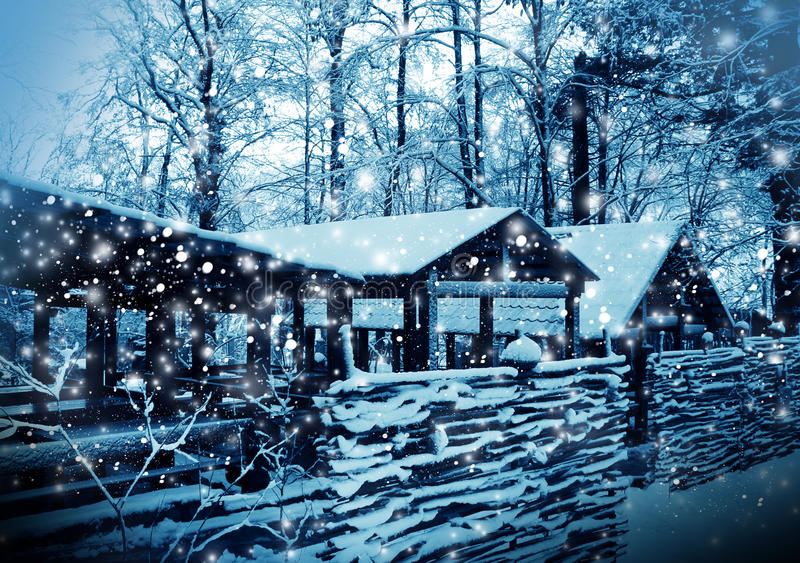 Winter nature in a snow stock image