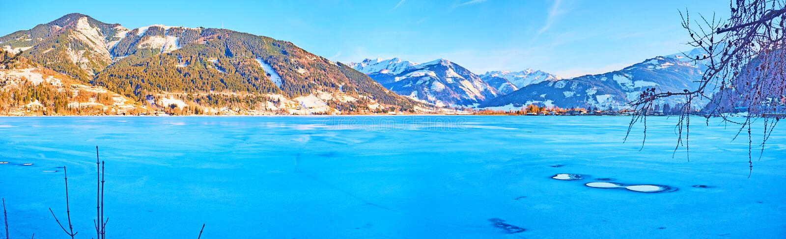 The winter nature of Zell am See, Austria stock image