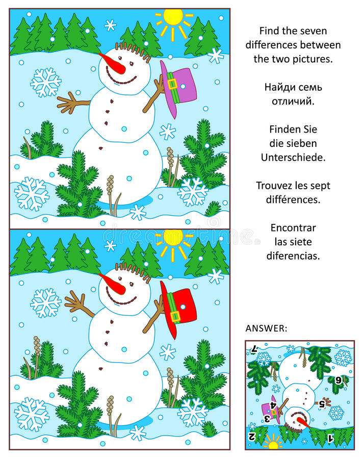 Winter, New Year or Christmas find the differences picture puzzle with snowman vector illustration