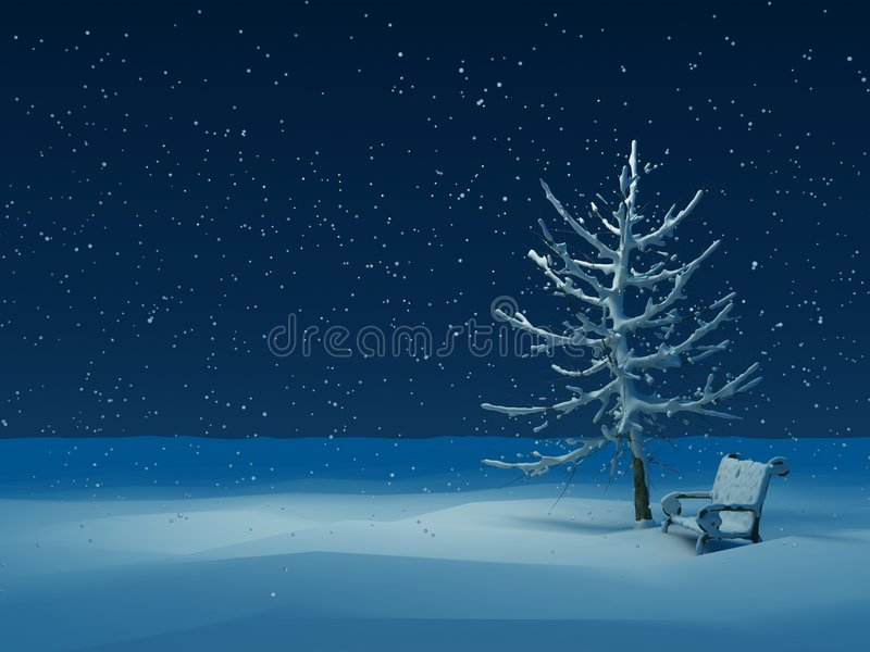 Winter night vector illustration