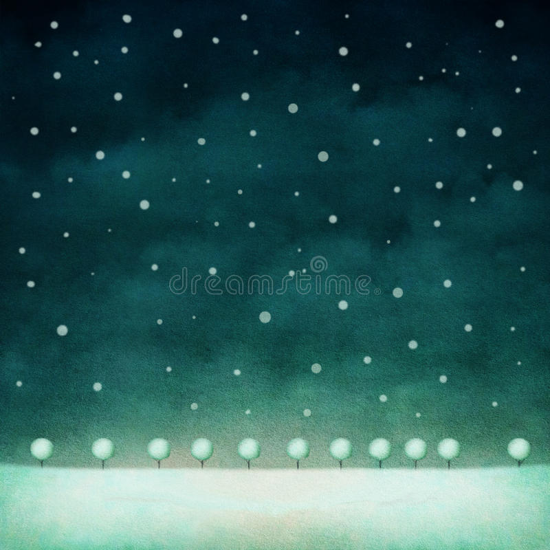 Winter night background stock illustration