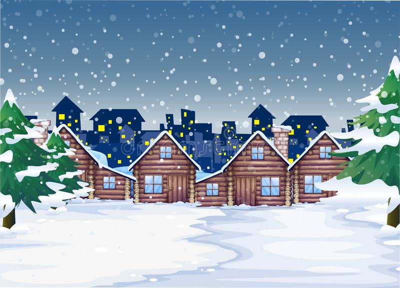 A winter night background. Illustration stock illustration