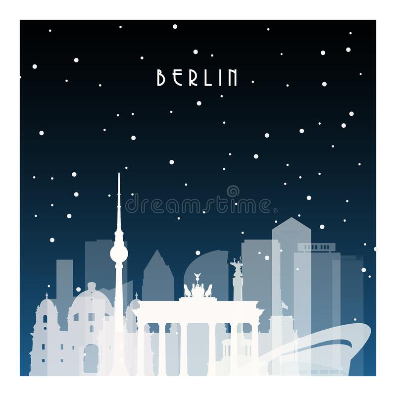 Winter night in Berlin. Night city in flat style for banner, poster, illustration, game, background stock illustration