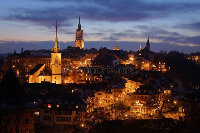 Winter night in Bern, Switzerland stock photos
