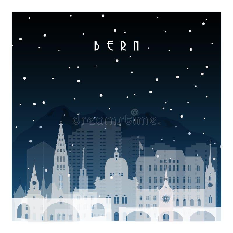 Winter night in Bern. vector illustration