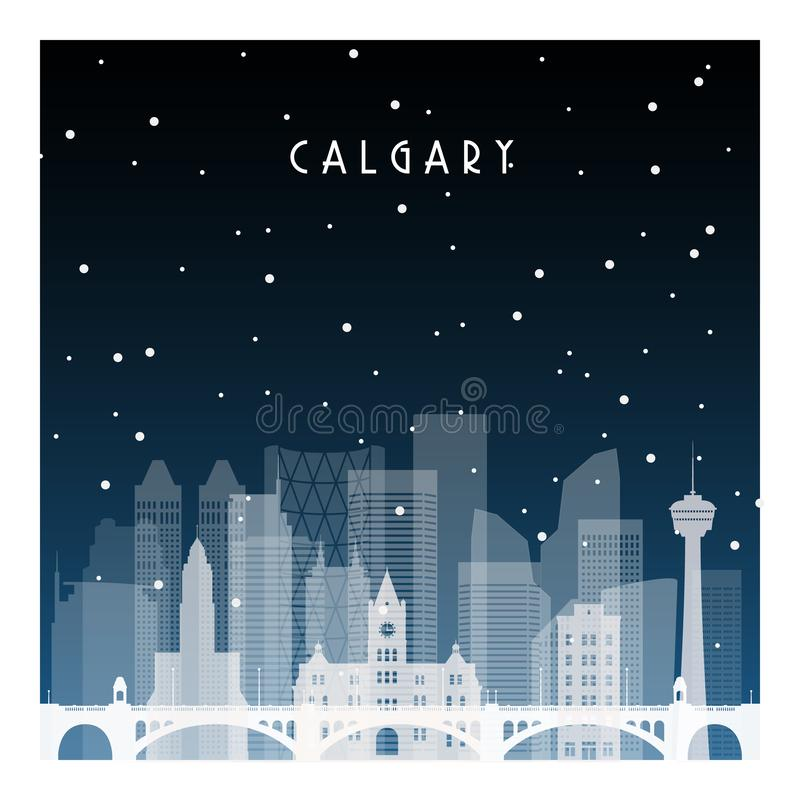 Winter night in Calgary. Night city in flat style for banner, poster, illustration, background vector illustration