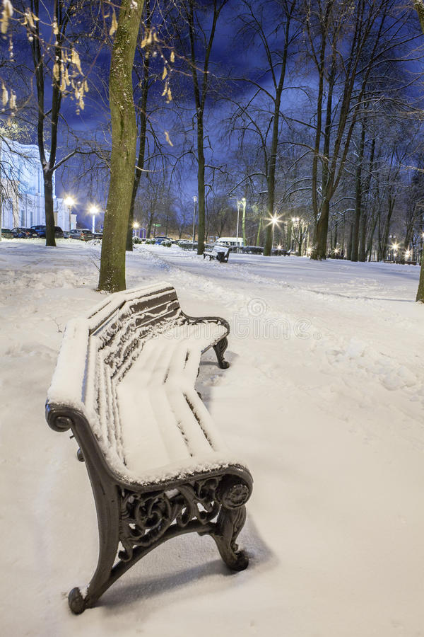 Download Winter in the night city stock photo. Image of huge, reflections - 83710818