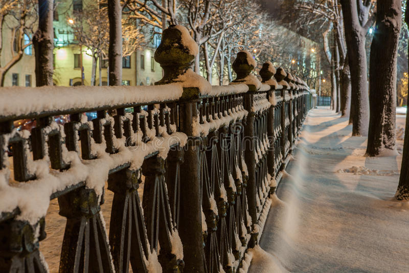 Download Winter in the night city stock image. Image of urban - 83710917