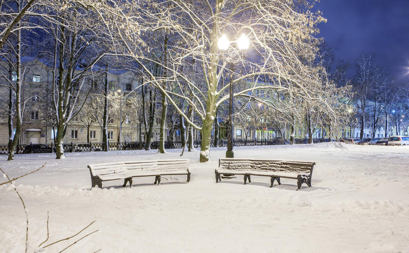 Download Winter in the night city stock image. Image of snowflakes - 83711197
