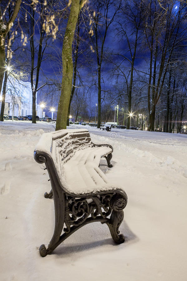 Download Winter In The Night City Stock Photo - Image: 83711220