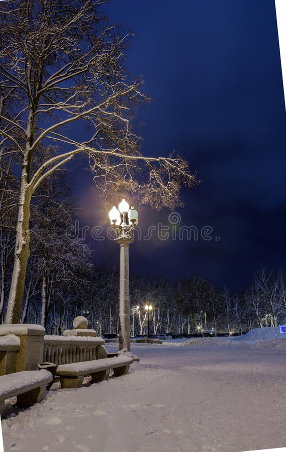 Download Winter In The Night City Stock Photo - Image: 83711272