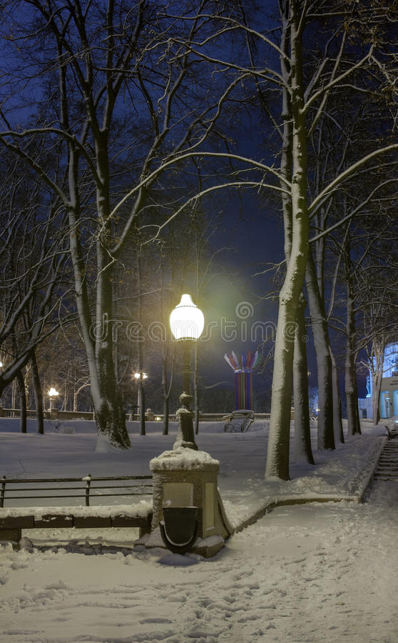 Download Winter In The Night City Stock Photo - Image: 83711608