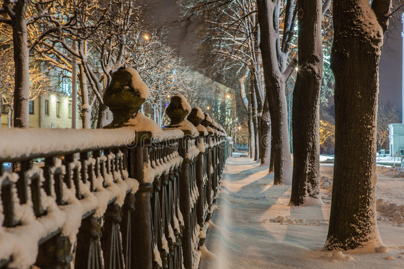 Download Winter In The Night City Stock Photo - Image: 83712081
