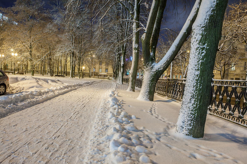 Download Winter in the night city stock photo. Image of shadows - 83712266