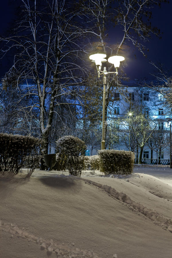 Download Winter In The Night City Stock Photo - Image: 83712442