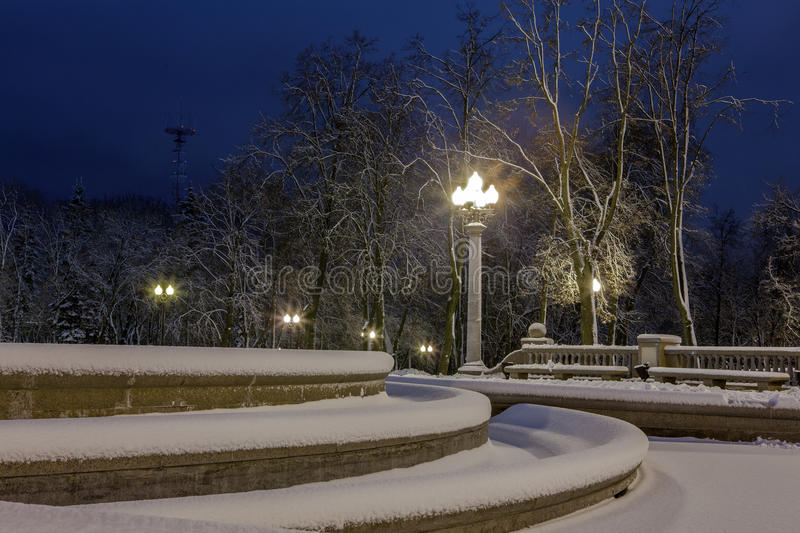 Download Winter In The Night City Stock Photo - Image: 83712709